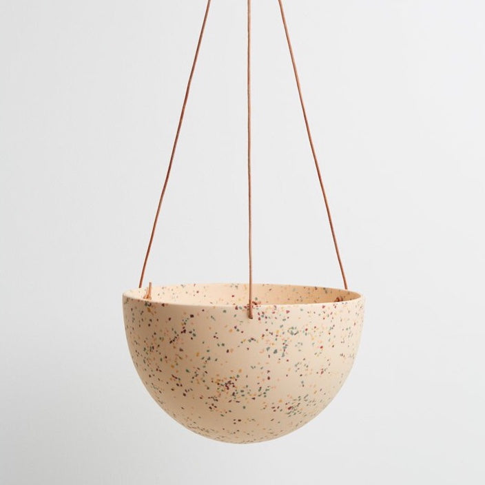 Capra Designs Terrazzo Dome Hanging Planter - Salt