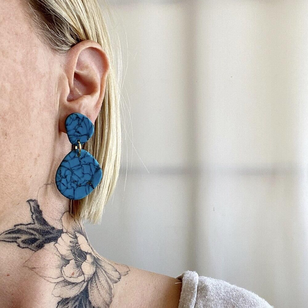 Sigfus Faux Turquoise Earrings