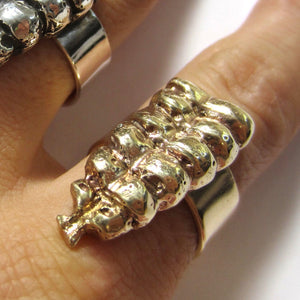 Heliotrope Rattle Ring - Brass