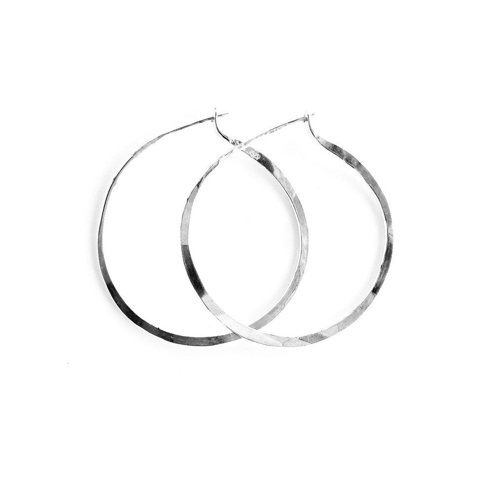 Hand Hammered Silver Hoops