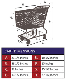 AMP-12NT Plastic Shopping Cart Without Lower Tray Specifications