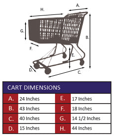 AMP-17AT Plastic Shopping Cart With Anti-Theft Lower Tray Specifications
