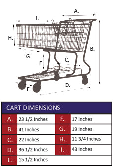 AMW-125 Metal Wire Shopping Cart Specifications