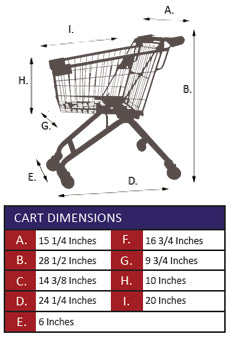 AMW-25 Kiddie Metal Wire Shopping Cart Specifications
