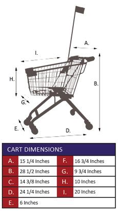 AMW-25FP Kiddie Metal Wire Shopping Cart with Flagpole Specifications