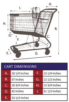 AMW-45 Metal Wire Shopping Cart Specifications
