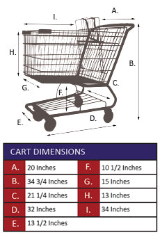 AMW-65 Metal Wire Shopping Cart Specifications