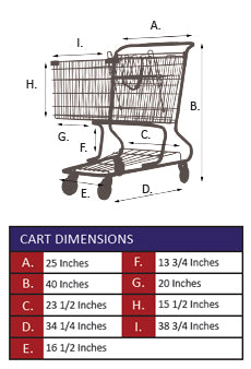 AMW-90 Metal Wire Shopping Cart Specifications