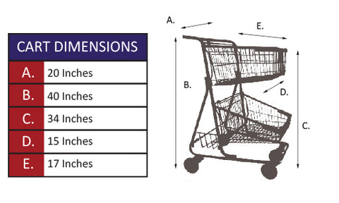 CC-20 Double Basket Convenience Metal Wire Shopping Cart Specifications