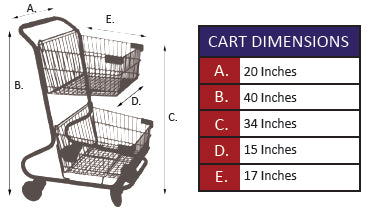 CC-12 Double Basket Convenience Metal Wire Shopping Cart Specifications