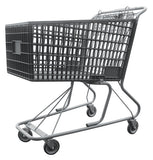 Dark Gray Plastic Shopping Cart With Anti-Theft Lower Tray