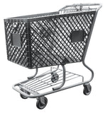 Dark Gray Plastic Shopping Cart With Lower Tray 12,000 cu. in.