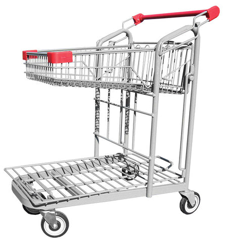 Metal Wire Garden Center Cart With Folding Basket & Red Handle & Bumpers