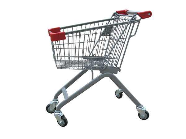 Kiddie Metal Wire Shopping Cart With Red Handle & Bumpers