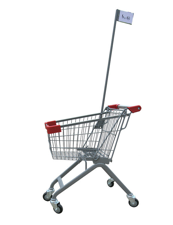 Kiddie Metal Wire Shopping Cart With Flagpole & Red Handle & Bumpers