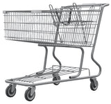 Metal Wire Shopping Cart 17,000 cu. in. With Dark Gray Handle, Seat, & Bumpers