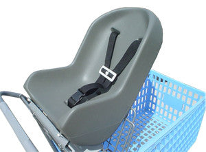 shopping cart infant seat installed on blue shopping cart
