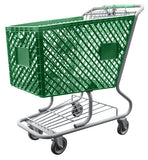 Green Plastic Shopping Cart With Lower Tray 12,000 cu. in.