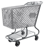 Light Gray Plastic Shopping Cart With Lower Tray 12,000 cu. in.