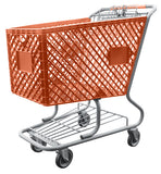 Orange Plastic Shopping Cart With Lower Tray 12,000 cu. in.
