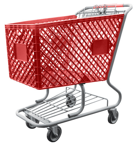Red Plastic Shopping Cart With Lower Tray 12,000 cu. in.