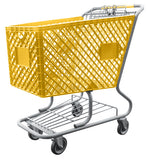 Yellow Plastic Shopping Cart With Lower Tray 12,000 cu. in.