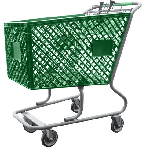 Green Plastic Shopping Cart Without Lower Tray