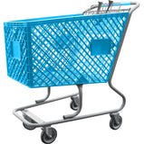 Light Blue Plastic Shopping Cart Without Lower Tray
