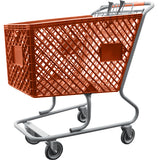 Orange Plastic Shopping Cart Without Lower Tray