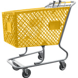 Yellow Plastic Shopping Cart Without Lower Tray