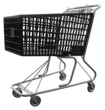Black Plastic Shopping Cart With Anti-Theft Lower Tray