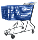 Blue Plastic Shopping Cart With Anti-Theft Lower Tray