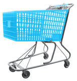 Light Blue Plastic Shopping Cart With Anti-Theft Lower Tray