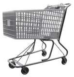 Light Gray Plastic Shopping Cart With Anti-Theft Lower Tray