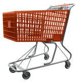 Orange Plastic Shopping Cart With Anti-Theft Lower Tray