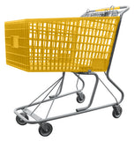 Yellow Plastic Shopping Cart With Anti-Theft Lower Tray