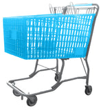Light Blue Plastic Shopping Cart With Vermaport Frame For Conveyors
