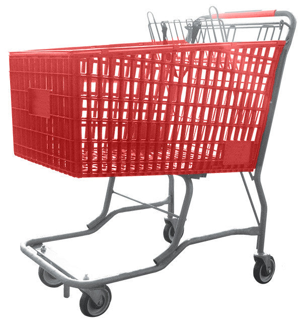 Red Plastic Shopping Cart With Vermaport Frame For Conveyors