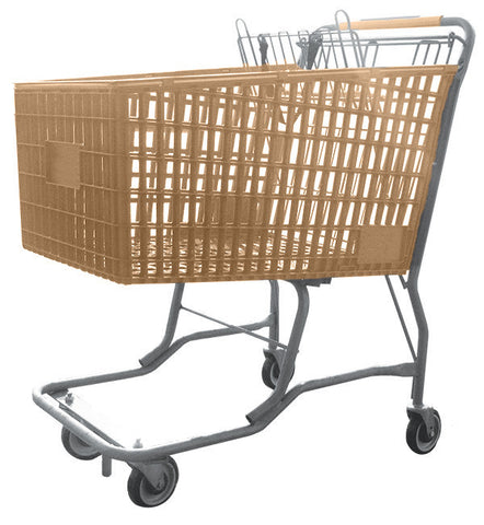 Tan Plastic Shopping Cart With Vermaport Frame For Conveyors