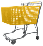 Yellow Plastic Shopping Cart With Vermaport Frame For Conveyors