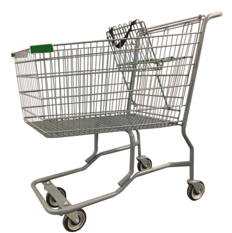 Metal Wire Shopping Cart With Vermaport Frame For Conveyor & Green Handle, Seat, & Bumpers