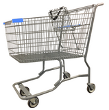 Metal Wire Shopping Cart With Vermaport Frame For Conveyor & Light Blue Handle, Seat, & Bumpers