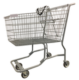Metal Wire Shopping Cart With Vermaport Frame For Conveyor & Light Gray Handle, Seat, & Bumpers