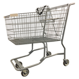 Metal Wire Shopping Cart With Vermaport Frame For Conveyor & Tan Handle, Seat, & Bumpers
