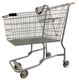 Metal Wire Shopping Cart With Vermaport Frame For Conveyor & Black Handle, Seat, & Bumpers
