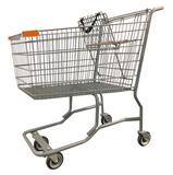 Metal Wire Shopping Cart With Vermaport Frame For Conveyor & Orange Handle, Seat, & Bumpers