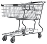 Metal Wire Shopping Cart 17,000 cu. in. With Black Handle, Seat, & Bumpers