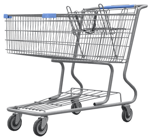Metal Wire Shopping Cart 17,000 cu. in. With Light Blue Handle, Seat, & Bumpers