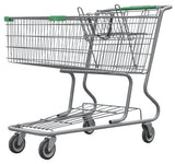 Metal Wire Shopping Cart 17,000 cu. in. With Green Handle, Seat, & Bumpers