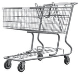 Metal Wire Shopping Cart 17,000 cu. in. With Light Gray Handle, Seat, & Bumpers